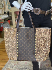 Repurposed LV Tote in Cheetah