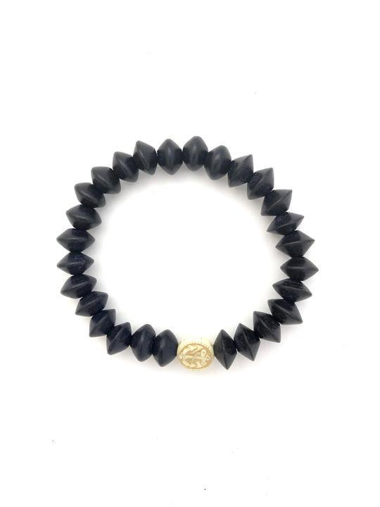 Anchor Beads Black Beaded Bracelet