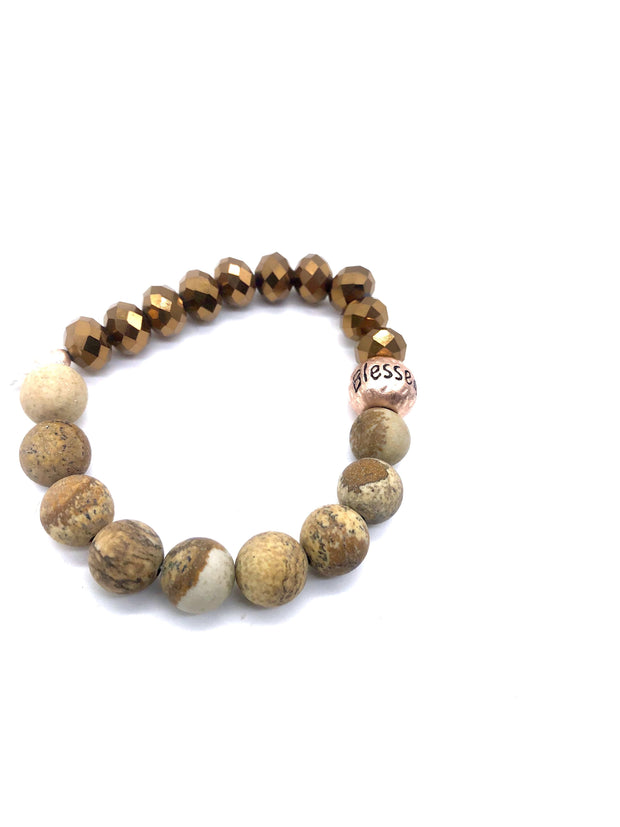 Picture Jasper and Rose Gold Beaded 'Blessed' Bracelet - Fruit of the Vine