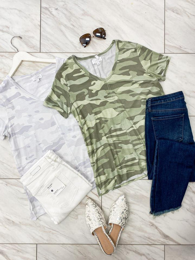 Carson T-Shirt in Sage Camo | Mud Pie