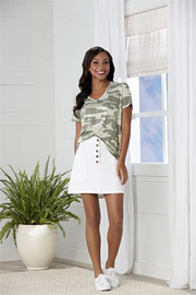 Carson T-Shirt in Sage Camo | Mud Pie | Fruit of the Vine Boutique