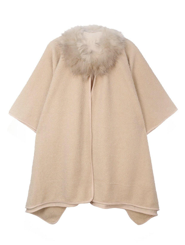 Fur Collar Poncho in Beige