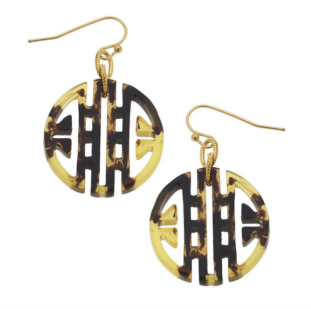 Round Tortoise Bamboo Wire Earrings