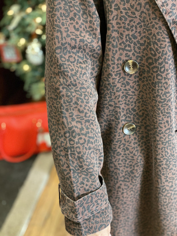Acid Washed Leopard Coat