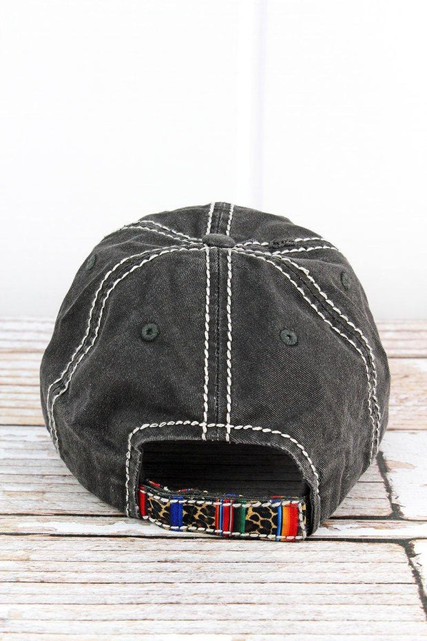 Distressed Black and Leopard Serape Cross Hat | Fruit of the Vine Boutique