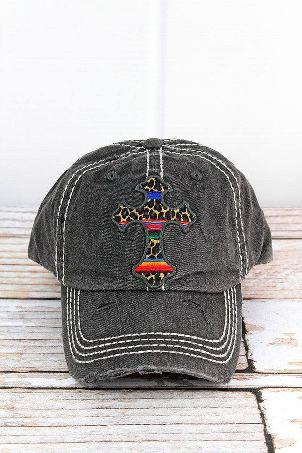 Distressed Black and Leopard Serape Cross Hat
