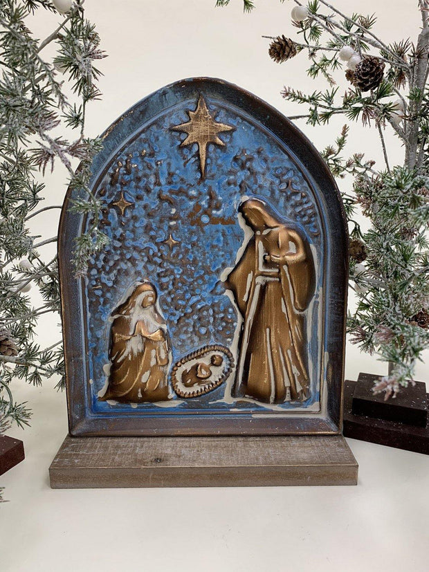 Metal Nativity Tabletop Plaque