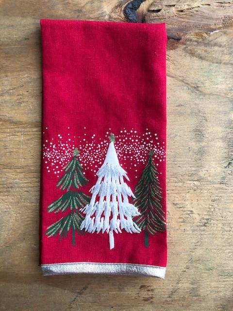 Red Christmas Tree Tea Towel