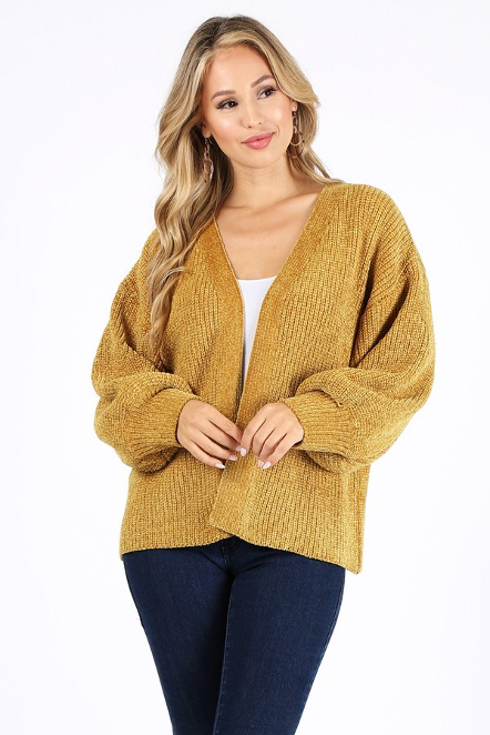 Mustard Balloon Sleeve Sweater