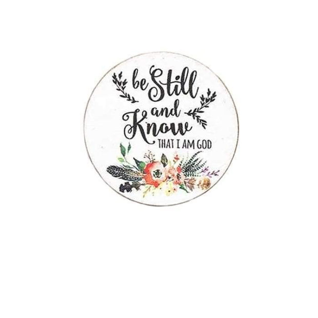 Be Still and Know Wood Disk Cell Phone Grip Cover | Fruit of the Vine Boutique