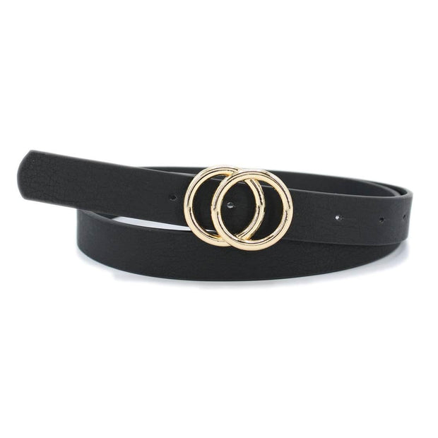 Black Belt with Gold Double Hoops