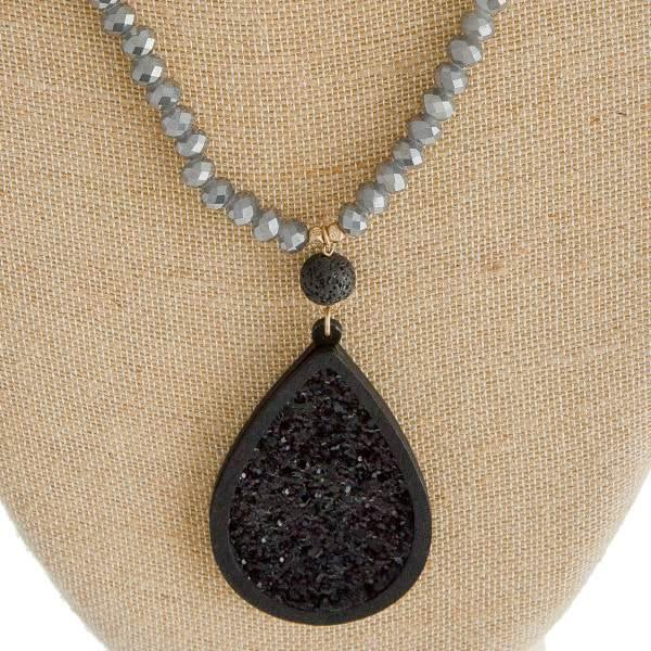 Beaded Necklace with Lava Rock