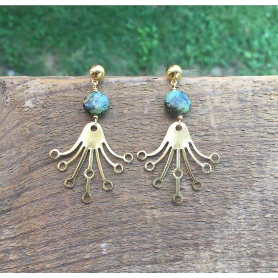 African Turquoise & Brass Earrings - Fruit of the Vine