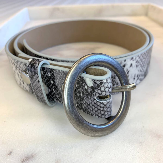 White Snakeskin Print Belt with Brushed Metal Buckle