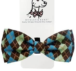 Teal Argyle Dog Bow Tie