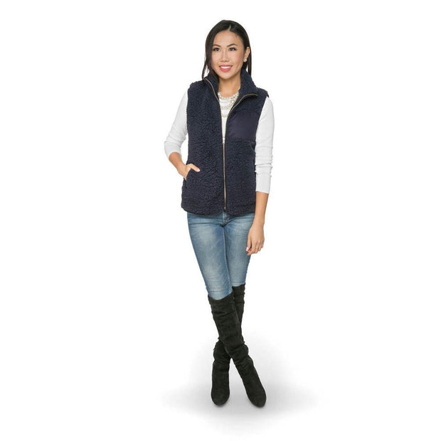 Camden Sherpa Vest in Navy | Fruit of the Vine Boutique