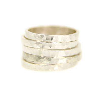 Silver Wide Hammered Stacking Ring