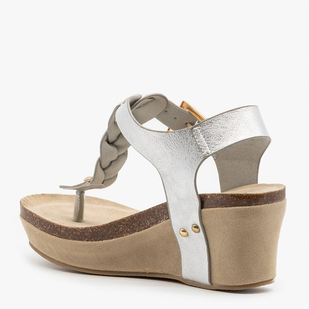 Nature Breeze Truce Braided Wedges in Silver - Fruit of the Vine