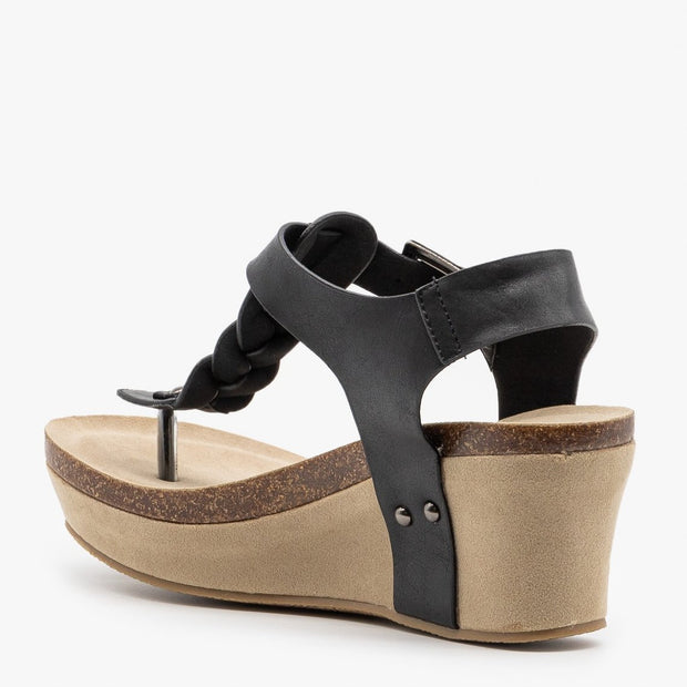 Nature Breeze Truce Braided Wedges in Black - Fruit of the Vine