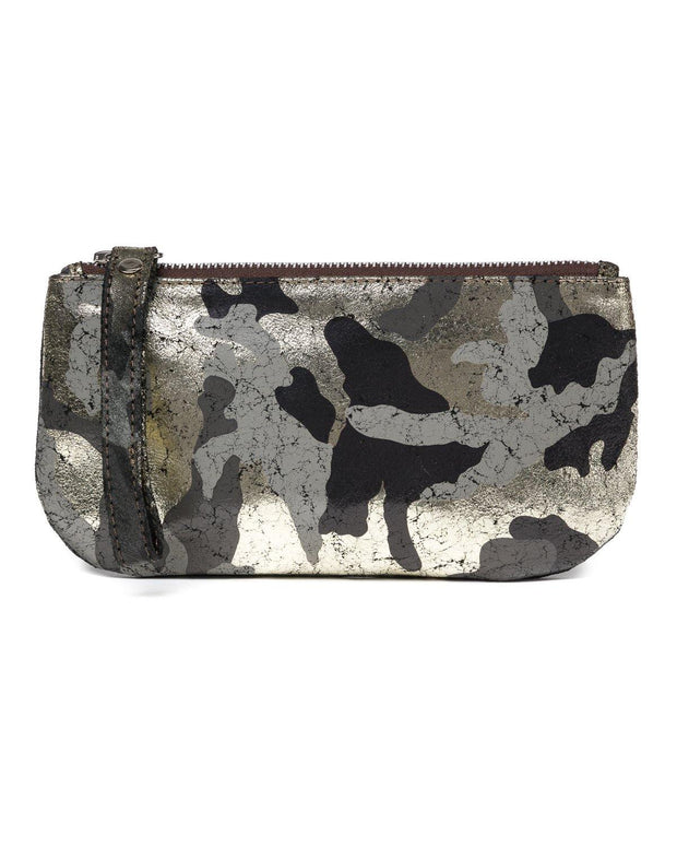 Ellie Wristlet in Black and Gold Camo