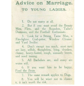 """Advice on Marriage"" from 1918 Shirt"