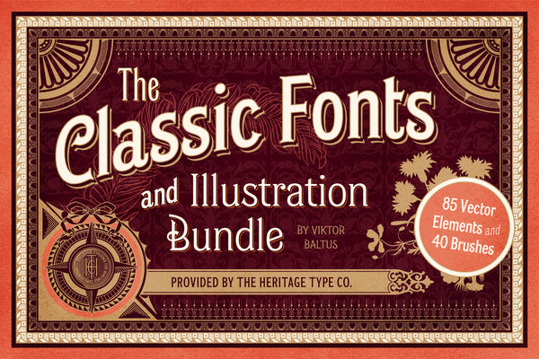 Classic Fonts and Illustration Bundle