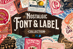 Nostalgic Font and Label Collection