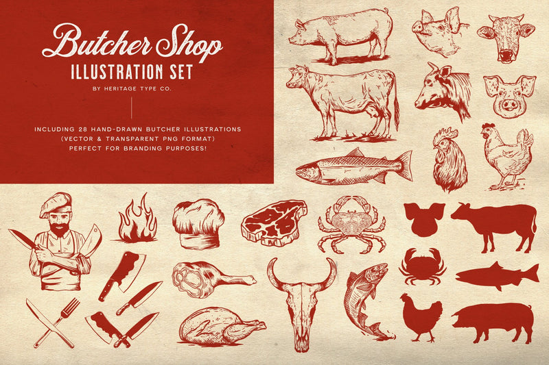Butcher Shop - Vector Illustration Set - HTC GmbH