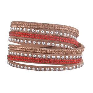 Red and Rose Gold Crystals on Tan Double Wrap Bracelet