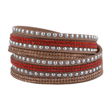 Load image into Gallery viewer, Red and Rose Gold Crystals on Tan Double Wrap Bracelet