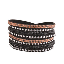 Load image into Gallery viewer, Rose Gold and Black Crystals on Black Double Wrap Bracelet