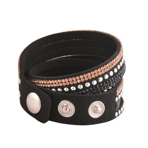 Rose Gold and Black Crystals on Black Double Wrap Bracelet