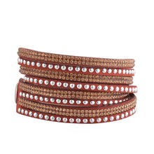 Load image into Gallery viewer, Gold Crystals on Garnet Double Wrap Bracelet