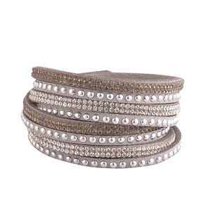 Hematite and Clear Crystals on Silver Double Wrap Bracelet