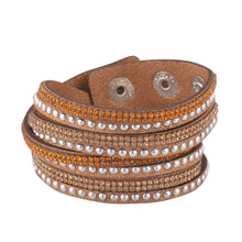 Load image into Gallery viewer, Gold and Light Gold Crystals on Tan Double Wrap Bracelet