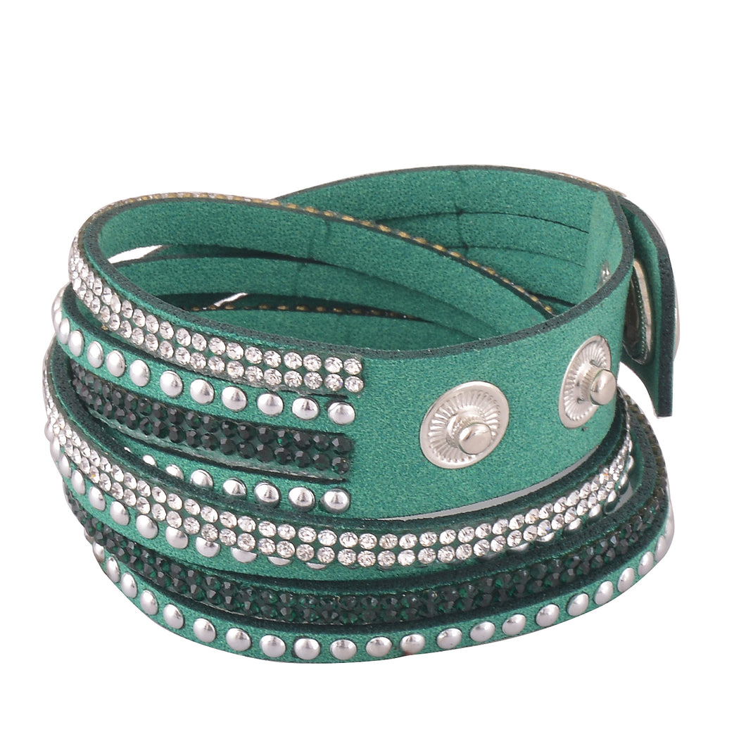 Clear and Dark Green Crystals on Green Double Wrap Bracelet