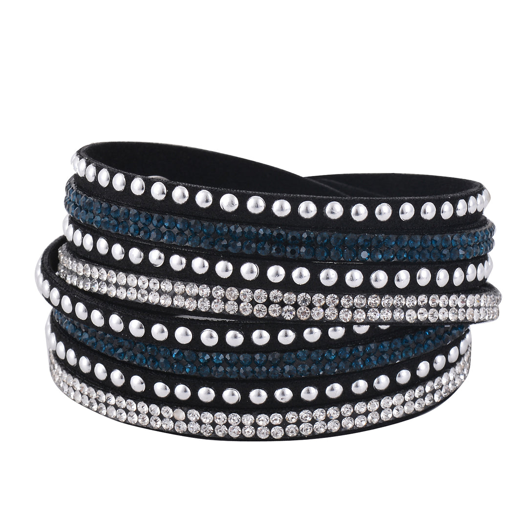Clear and Dark Blue Crystals on Black Double Wrap Bracelet