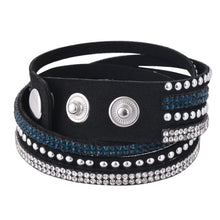 Load image into Gallery viewer, Clear and Dark Blue Crystals on Black Double Wrap Bracelet