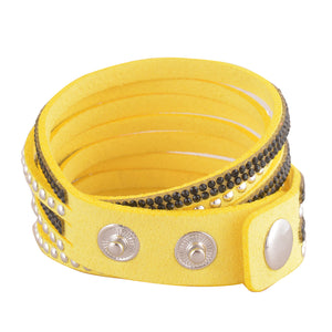Black Crystals on Yellow Double Wrap Bracelet