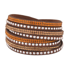 Load image into Gallery viewer, Gold and Light Gold Crystals on Dark Brown Double Wrap Bracelet