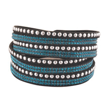 Load image into Gallery viewer, Teal Crystals on Black Double Wrap Bracelet