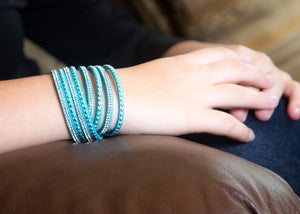Clear Crystals on Aquamarine Double Wrap Bracelet
