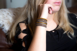 Gold and Light Gold Crystals on Dark Brown Double Wrap Bracelet