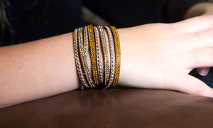 Gold and Light Gold Crystals on Tan Double Wrap Bracelet