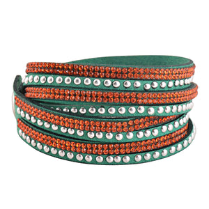 Orange Crystals on Green Double Wrap Bracelet