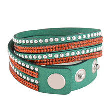 Load image into Gallery viewer, Orange Crystals on Green Double Wrap Bracelet