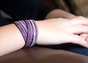 Purple and Aurora Borealis Crystals on Purple Double Wrap Bracelet