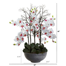 "46"" Giant Phalaenopsis Orchid Artificial Arrangement in Cement bowl"