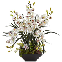 Cymbidium Orchid with Black Vase