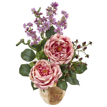 Large Rose and Dancing Daisy in Wooden Pot